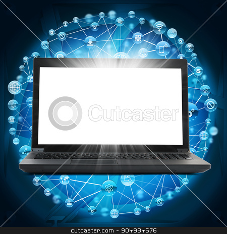 Black laptop with blank screen and computer icons stock photo, Black laptop with blank screen and computer icons on blue background by cherezoff