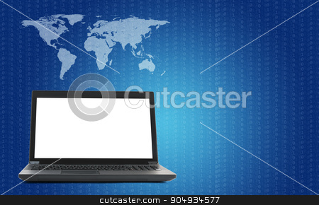 Laptop with world map and figure on blue stock photo, Black laptop with world map and lightspot on blue background by cherezoff