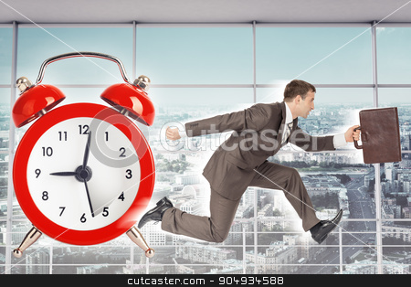 Businessman running with alarm clock background stock photo, Businessman running on alarm clock backgound with interior view by cherezoff