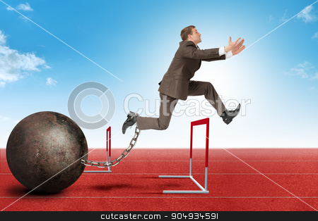 Businessman jumping over barrier stock photo, Businessman with empty hands and iron ballast jumping over treadmill barrier by cherezoff