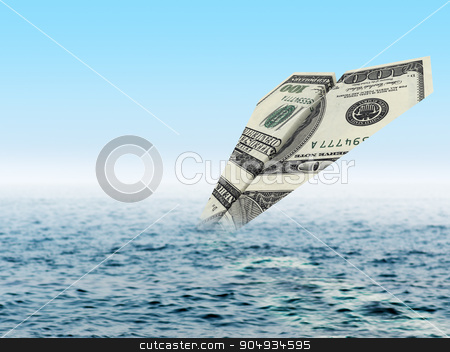 Bankruptcy business. Money plane crash in sea stock photo, Bankruptcy business. Money plane crash in water by cherezoff