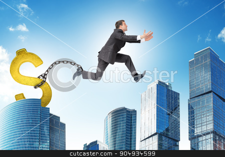 Man jumping over gap with gold dollar ballast stock photo, Image of young businessman with dollar ballast jumping over gap on city background by cherezoff