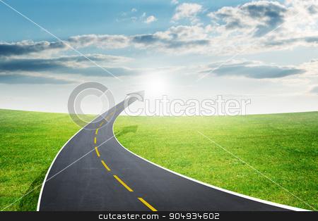Roadway going up as an arrow, fresh air stock photo, Highway road going up as an arrow in sky by cherezoff