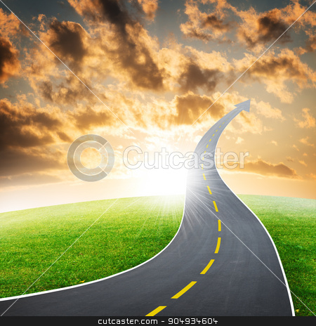 Highway road going up as an arrow stock photo, Highway road going up as an arrow in sky by cherezoff