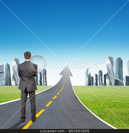 Businessman standing on highway going up as arrow stock photo, Businessman standing on highway road going up as an arrow in sky by cherezoff