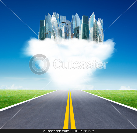 Cityscape on clouds stock photo, City on clouds in sky above highway road by cherezoff