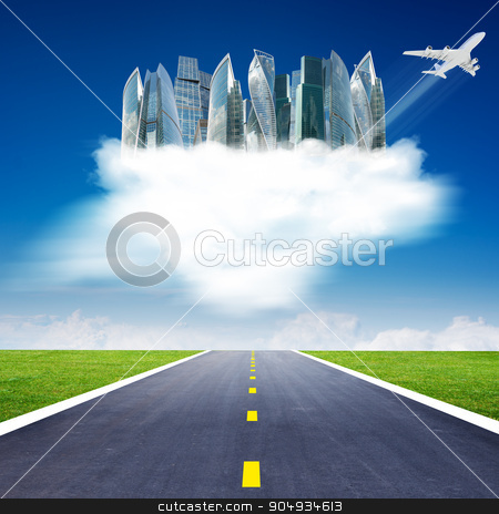 City on clouds with jet stock photo, City on clouds in sky above highway road by cherezoff