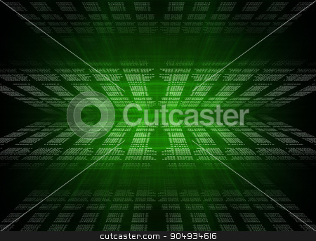 Digital Abstract background stock photo, Green Digital Abstract background with numbers and light by cherezoff