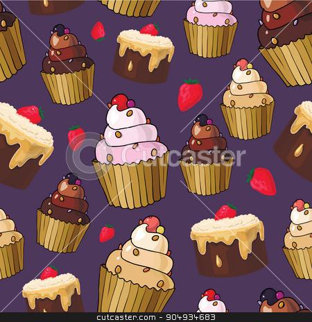 Seamless pattern with cherry cupcakes stock vector clipart, Seamless pattern with cherry cupcakes and cherries by Aleksandra Serova