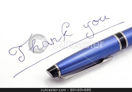Thank you note on white background stock photo, Thank you note on white background by blue ink by Ondrej Vladyka