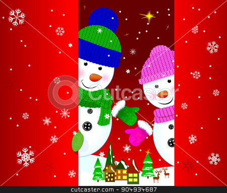 Two snowmen greeting card stock vector clipart, Two snowmen on a background of a winter landscape. by liolle