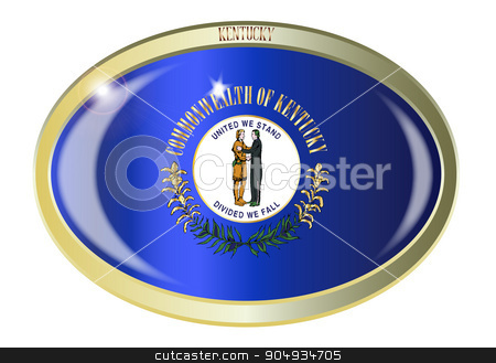 Kentucky State Flag Oval Button stock vector clipart, Oval metal button with the Kentucky state Flag isolated on a white background by Kotto