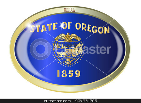 Oregon State Flag Oval Button stock vector clipart, Oval metal button with the Oregon state Flag isolated on a white background by Kotto