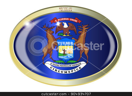 Michigan State Flag Oval Button stock vector clipart, Oval metal button with the Michigan state Flag isolated on a white background by Kotto