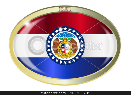Missouri State Flag Oval Button stock vector clipart, Oval metal button with the Missouri state Flag isolated on a white background by Kotto