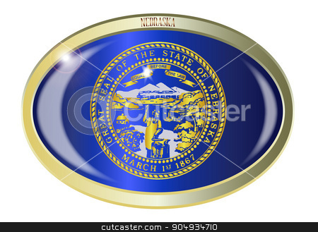 Nebraska State Flag Oval Button stock vector clipart, Oval metal button with the Nebraska state Flag isolated on a white background by Kotto
