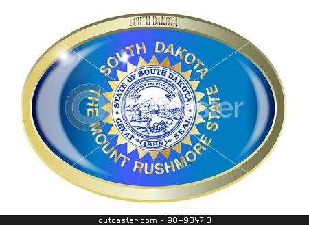 South Dakota State Flag Oval Button stock vector clipart, Oval metal button with the South Dakota state Flag isolated on a white background by Kotto