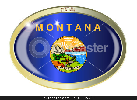 Montana State Flag Oval Button stock vector clipart, Oval metal button with the Montana state Flag isolated on a white background by Kotto