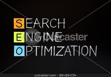 Search Engine Optimization Acronym stock photo, Search Engine Optimization concept made with sticky notes and white chalk on blackboard. by Ivelin Radkov