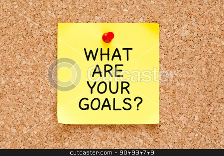 What Are Your Goals Cork Board stock photo, What Are Your Goals handwritten on yellow sticky note. by Ivelin Radkov