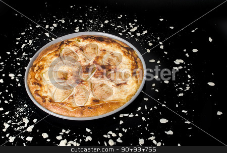 Pear pie stock photo, Sweet tasty pear pie isolated on black background by richpav