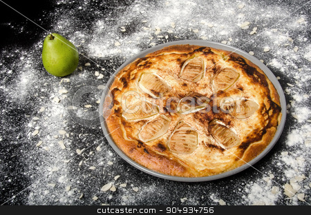 Sweet pie with pear stock photo, Sweet tasty pie with green pear and almonds. by richpav