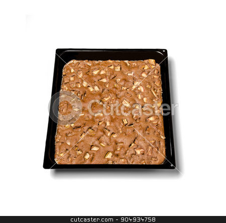 Apple pie stock photo, Apple pie on a black metal plate isolated on white background. by richpav