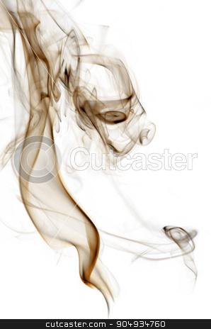 Insence smoke stock photo, Brown insence smoke on white background, graphic resource. by richpav
