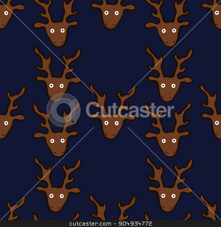 seamless pattern with funny crazy deers stock vector clipart, seamless pattern with funny crazy deers, vector illustration by Aleksandra Serova