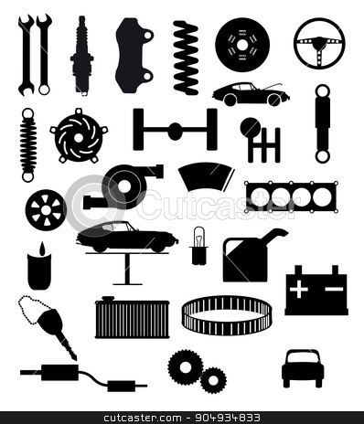 Auto Service Items stock vector clipart, Automobile servis item silhouette icons on a white background by Kotto