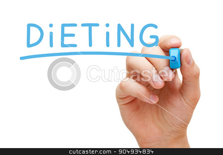 Dieting Blue Marker stock photo, Hand writing Dieting with blue marker on transparent wipe board isolated on white. by Ivelin Radkov