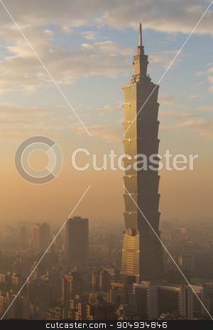 Taipei city skyline stock photo, Photograph of Taipei city skyline in Taiwan during sunset. by Oliver Foerstner