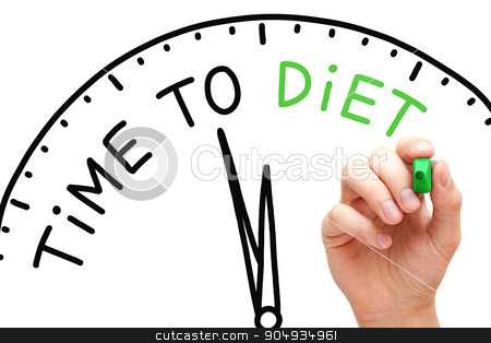 Time to Diet stock photo, Hand writing Time to Diet concept with green marker on transparent wipe board. by Ivelin Radkov