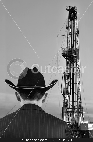 Texas Oil. stock photo, Texas oilman looking at his land prize with room for your type. by WScott