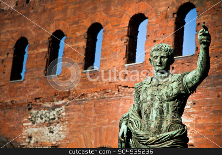 The leader: Cesare Augustus - Emperor stock photo, Statue of Cesare Augustus in Torino - Italy: concept of leadership by Paolo Gallo