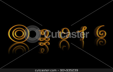 Happy New Year 2016 gold text stock photo, Happy New Year 2016 with gold text by ANTONIOS KARVELAS