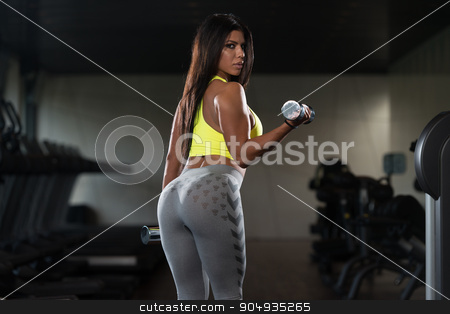 Latin Woman Lifting Weights With Dumbbells stock photo, Sexy Latina Woman Working Out Biceps In Fitness Center - Dumbbell Concentration Curls by Jasminko Ibrakovic