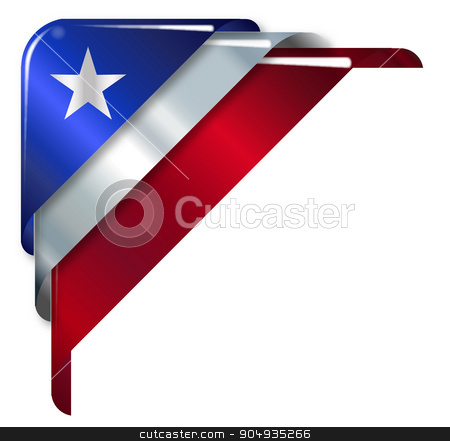 Star And Stripes Ribbon Corner stock vector clipart, Red White and Blue with large star flag colours over a white background by Kotto