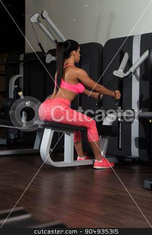 Latina Woman Doing Heavy Weight Exercise For Back stock photo, Sexy Latino Woman Working Out Back On Machine In Fitness Center by Jasminko Ibrakovic