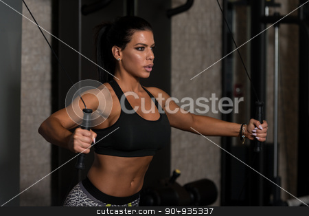 Chest Workout Cable Crossover stock photo, Young Woman Is Working On Her Chest With Cable Crossover In A Modern Gym by Jasminko Ibrakovic