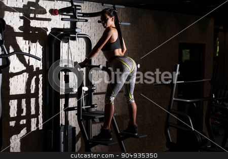 Gorgeous Latin Woman Posing In The Gym stock photo, Portrait Of A Sexy Sporty Latino Woman In The Gym With Exercise Equipment by Jasminko Ibrakovic
