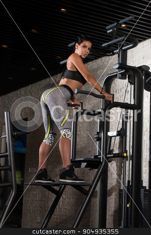 Sexy Mexican Woman Posing In The Gym stock photo, Portrait Of A Sexy Sporty Latina Woman In The Gym With Exercise Equipment by Jasminko Ibrakovic