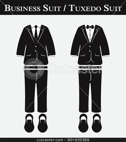 Business suit and Tuxedo suit ( vintage style , flat design ) stock vector clipart, Business suit and Tuxedo suit ( vintage style , flat design ) by stockdevil