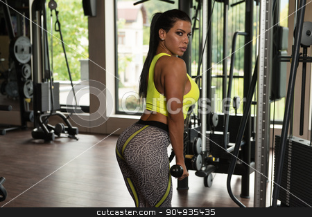 Latina Woman Doing Heavy Weight Exercise For Triceps stock photo, Mexican Woman Athlete Doing Heavy Weight Exercise For Triceps by Jasminko Ibrakovic