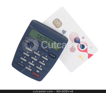 Card reader for reading a bank card stock photo, Banking at home, card reader for reading a bank card - Debit by michaklootwijk