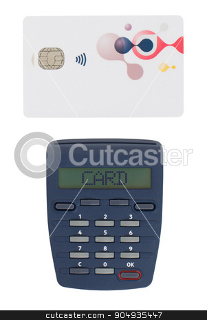 Card reader for reading a bank card stock photo, Banking at home, card reader for reading a bank card - Card by michaklootwijk