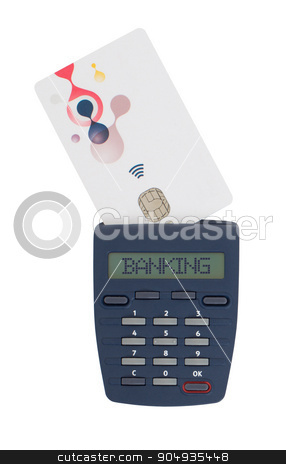 Card reader for reading a bank card stock photo, Banking at home, card reader for reading a bank card - Banking by michaklootwijk