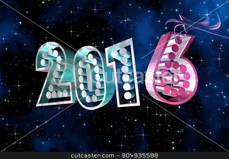 Happy New Year 2016 at space background stock photo, Happy New Year 2016 illustration at space background by ANTONIOS KARVELAS