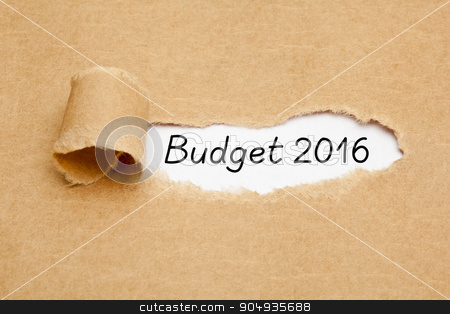 Budget Year 2016 Torn Paper Concept stock photo, The text Budget 2016 appearing behind torn brown paper.  by Ivelin Radkov