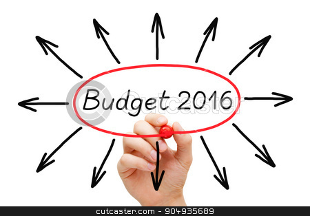 Budget Year 2016 Concept stock photo, Hand sketching Budget year 2016 concept with marker on transparent wipe board.  by Ivelin Radkov